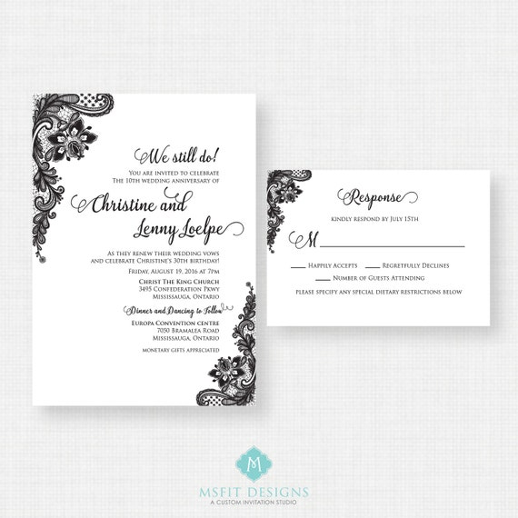 Vintage Lace Wedding invitation- RSVP Card Included- Printable Invitation