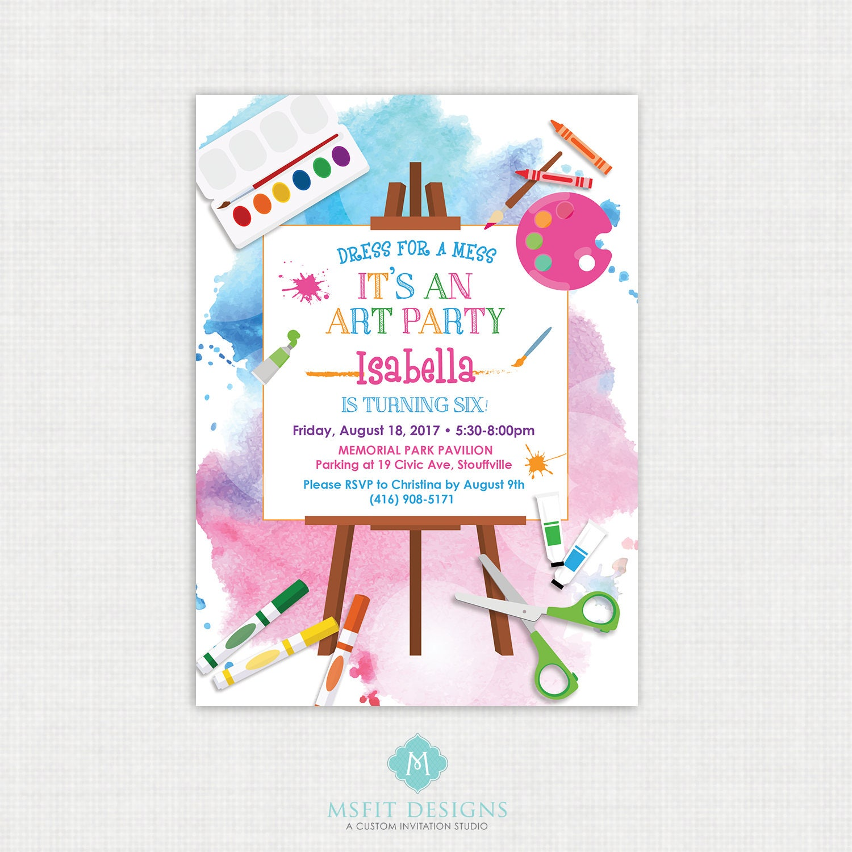 Art Party Invitation, Art Party, Art Birthday Invitation, Art ...