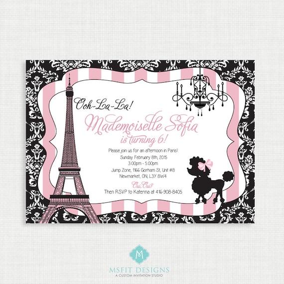 Paris birthday invitation, Paris Birthday Party, Eiffel tower invitation, Paris themed party - Printable Invitation