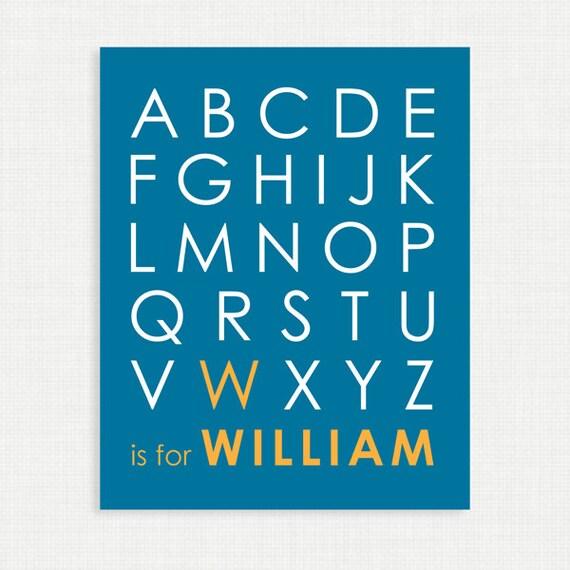 Nursery Wall Decor - Alphabet Poster - Nursery Art Print - Blue and Yellow - 8x10- Kids Nursery Wall Art