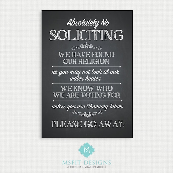 No Soliciting Sign - Door Sign - Soliciting 5x7 Digital File