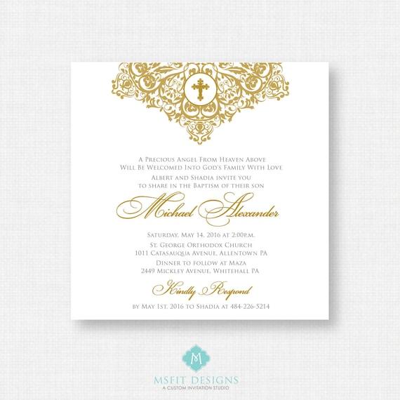 Printable Baptism Invitation- Gold Baptism Invitation - Baby Dedication, First Communion, Confirmation, Christening - Printable invitation