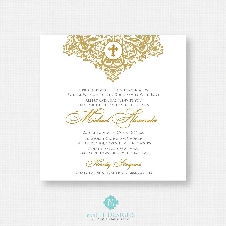 printable baptism invitation gold baptism invitation baby