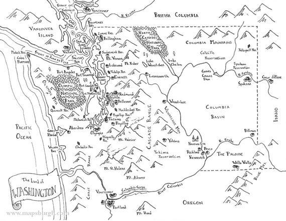 Fantasy map of Washington state   Etsy