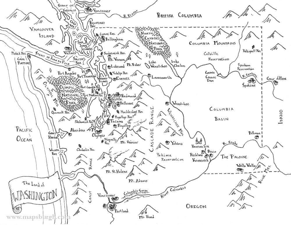 Fantasy map of Washington state | Etsy
