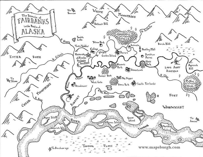 Fantasy maps of Northwestern cities: Fairbanks Port Townsend | Etsy