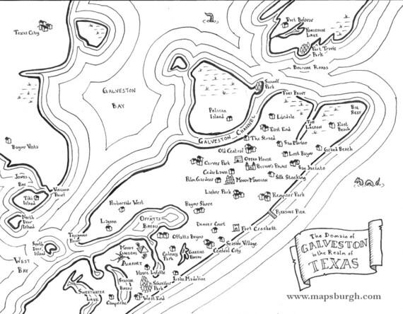 Fantasy maps of Texas cities: Galveston, Dallas, San Antonio, Amarillo