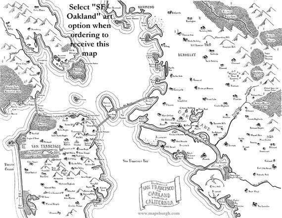 Fantasy Map Of San Francisco Oakland Bay Area Etsy Overview road map of the san francisco bay area, california. fantasy map of san francisco oakland bay area
