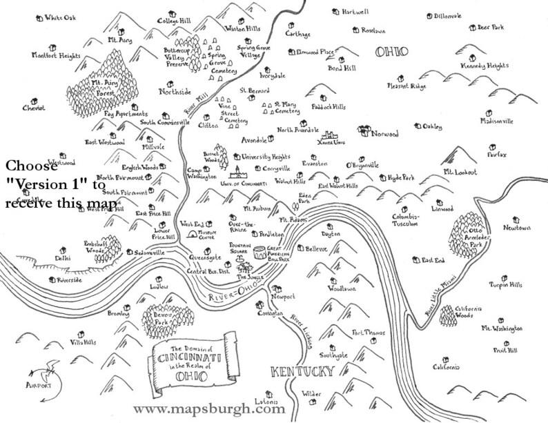 Fantasy map of Cincinnati | Etsy