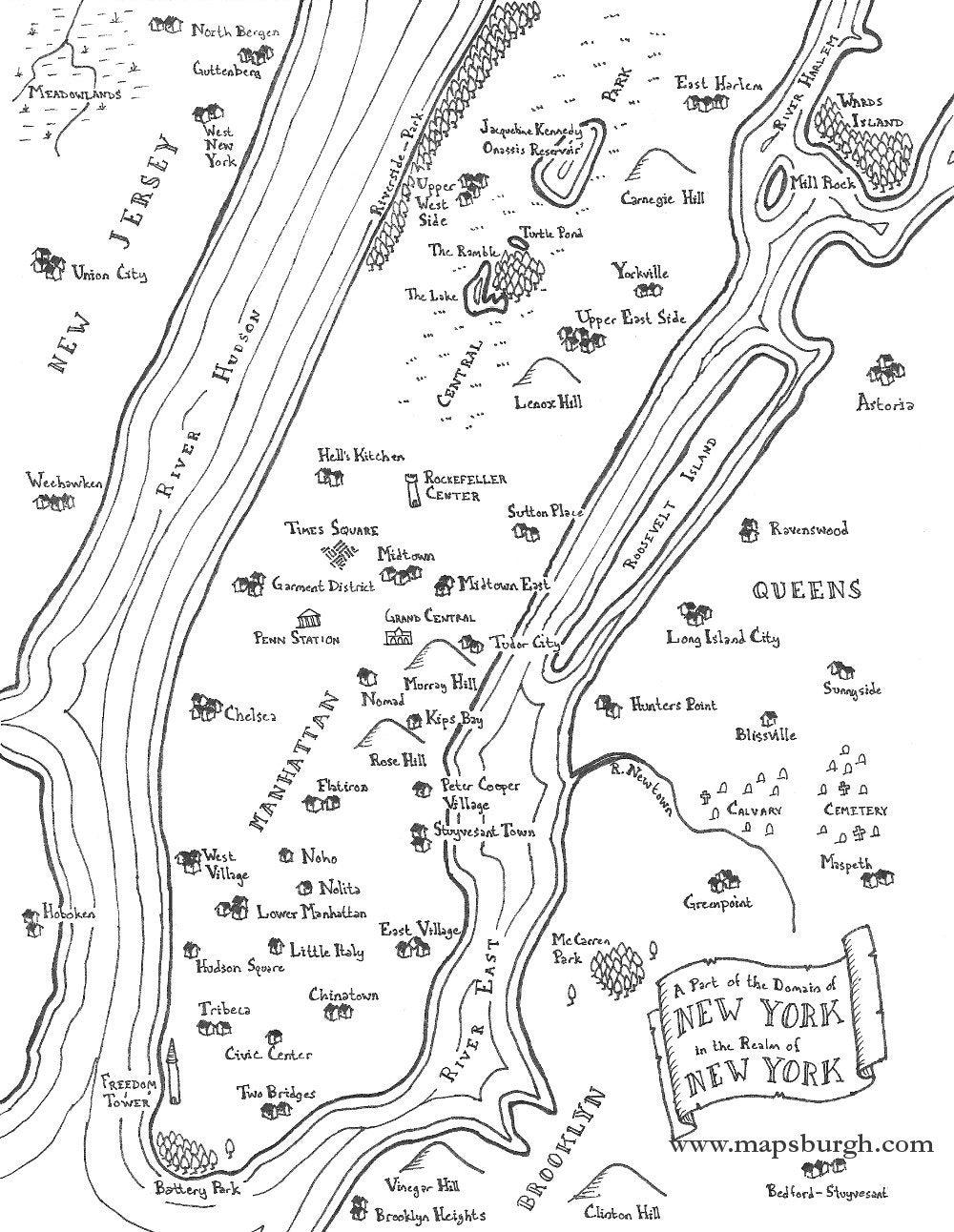 fantasy map of new york boroughs etsy