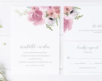 floral wedding invitation template set / wedding invitation template download / watercolor wedding invitation suite / spring wedding invite