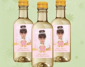 Photo First Communion Mini Wine Labels - Gold Mini Wine Bottle - Set of 10