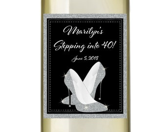Stepping into Birthday Wine Labels • Personalized Birthday Wine Label - Glitter Heels
