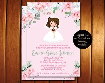 Girl First Communion Invites,  Floral First Communion Invites, Spanish Communion Invitations Available