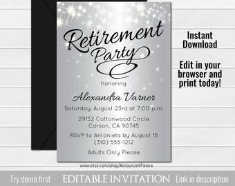 Silver Retirement Party Invitation, Elegant Retirement Invitation, Sparkly Invitations, Customized Invite