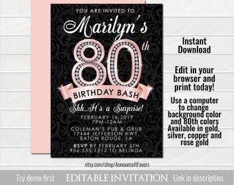 Glitz And Glam Adult Birthday Party Invitation Glamorous
