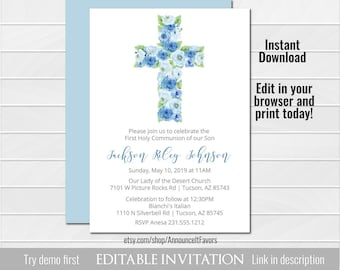 boy first communion invitation blue first holy communion invitation printable communion invite floral corjl instant download
