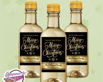 Christmas Mini Wine Labels, Gold Mini Wine Bottle, Set of 10