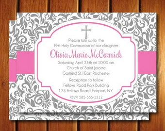 First Holy Communion Invite - Girl • Printable First Communion Invitation