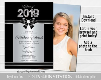 class of 2019 graduation invitation template graduation etsy