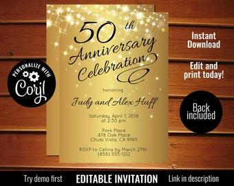 50th anniversary invitation etsy