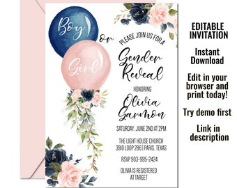 He or She Virtual Party Evite FB Live Reveal Boy or Girl Instant Download Online Gender Reveal Invite Gender Reveal Virtual Invitation