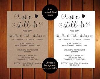 Anniversary invites etsy we still do anniversary invitation kraft anniversary invitation rustic we still do anniversary invites calligraphy printable stopboris Gallery