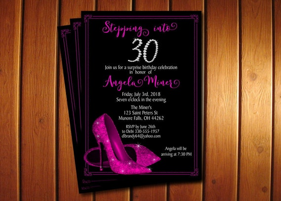 Hot Pink Glitter Shoes Birthday Invitation O High Heel Invite Printable Adult Party
