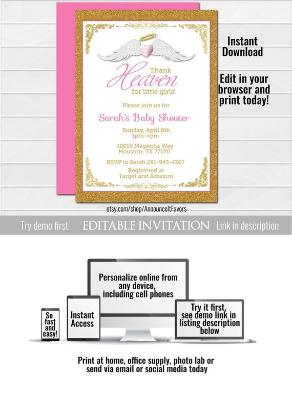 Thank Heaven For Little Girls Baby Shower Invitations Unique Etsy