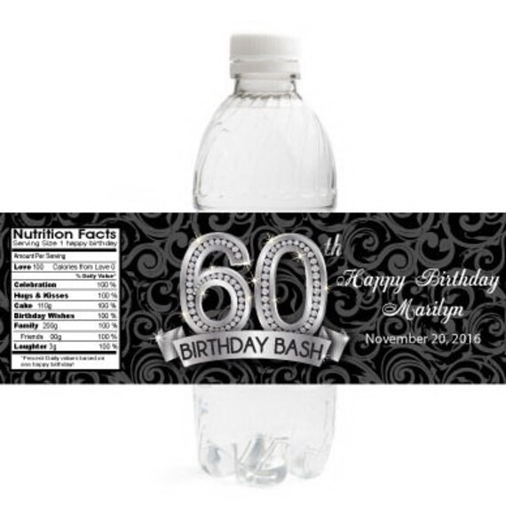 picture regarding Free Printable Water Bottle Labels for Birthday named 60th Birthday Drinking water Bottle Labels Water resistant Birthday Labels Preset of 10