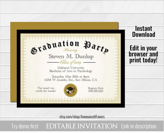 Diploma Graduation Invitation Printable Editable College Etsy