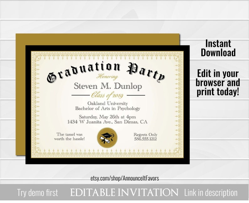 image regarding Etsy Printable Invitations identified as Degree Commencement Invitation Printable, Editable Higher education Commencement Announcement, Superior University Commencement Social gathering Invites Template
