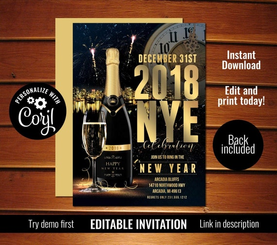 new years eve party invitation nye invite instant download by