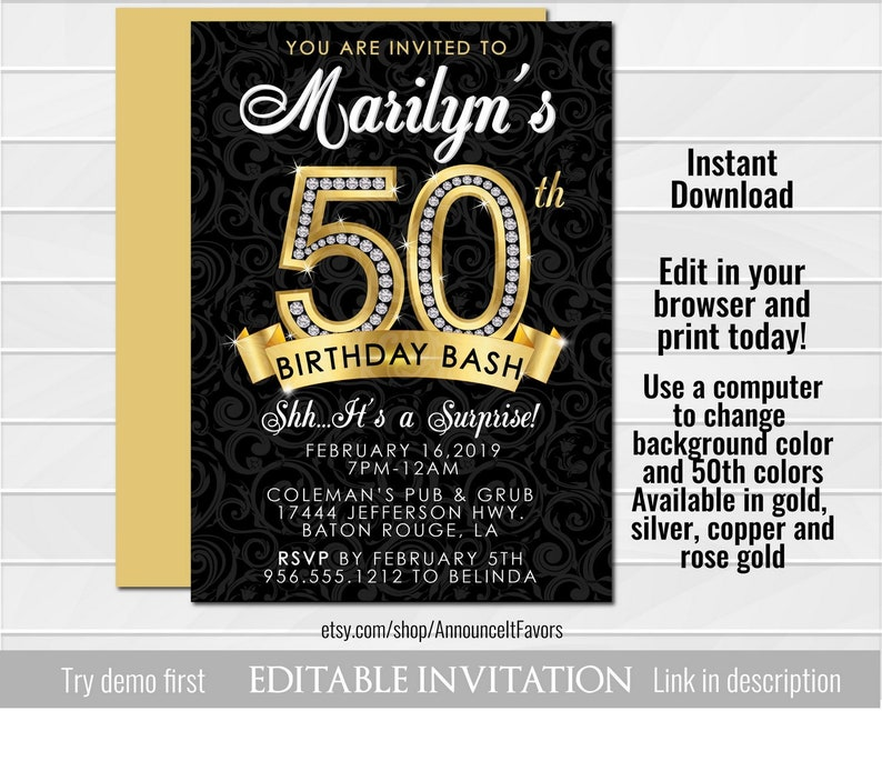 Surprise 50th Birthday Party Invitations Bash Invites