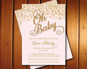 Oh Baby Shower Invitations | Blush Pink and Gold Baby Shower Invite | Girl Invitation