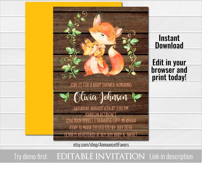 image regarding Etsy Baby Shower Invitations Printable named Woodland Fox Child Shower Invites, Printable Youngster Shower Invites