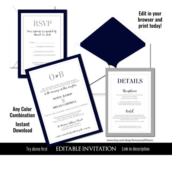 Traditional Wedding Invitation Template Monogram Wedding Invitation Suite Diy Wedding Invitations Printable By Announce It Catch My Party