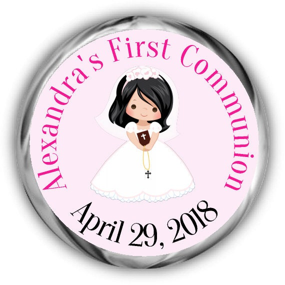 5 Hair Color  Skin Tone Options Girls First Communion Hershey Kiss Stickers 108 CT Printed Stickers Party Favors Personalized Labels