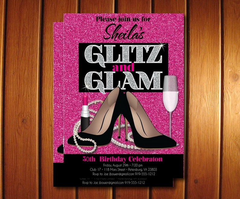 Glitz And Glam Adult Birthday Party Invitation Glamorous