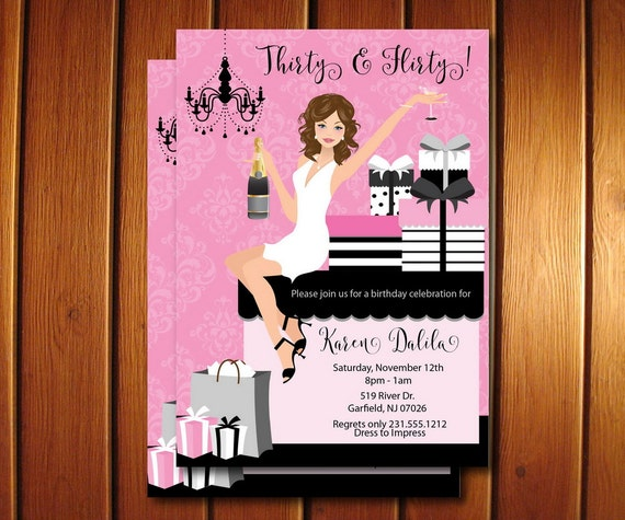 30th Birthday Invitations Thirty And Flirty Adult Party For