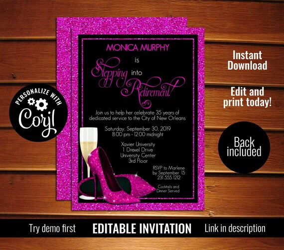 pink shoes retirement party invitation template printable etsy