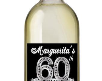 60th Birthday Wine Labels, Personalized Birthday Wine Label
