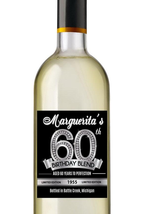 60th birthday wine labels personalized birthday wine label etsy