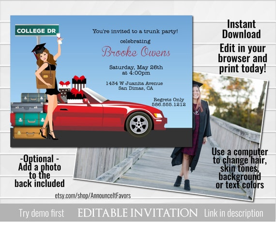 Graduation Trunk Party Invitations