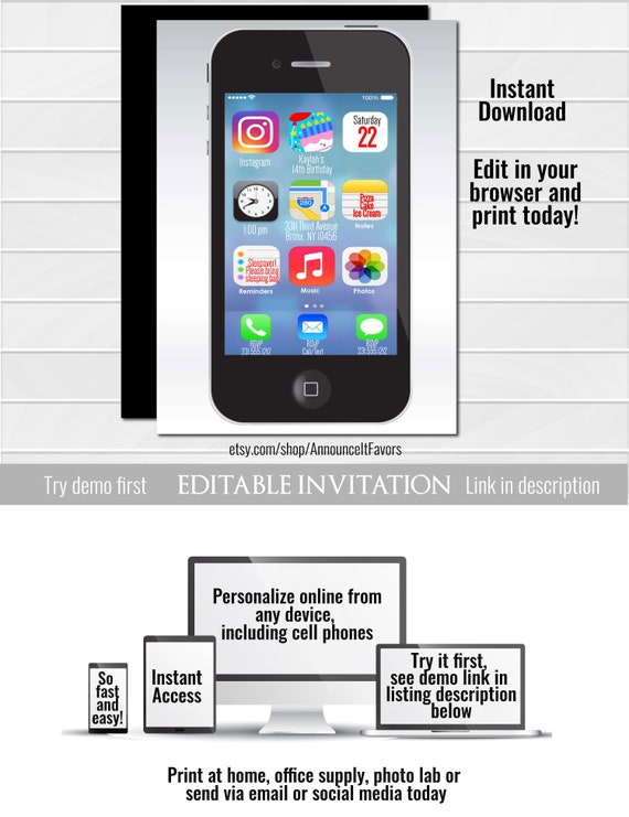IPhone Birthday Invitation Kids Party Invitations