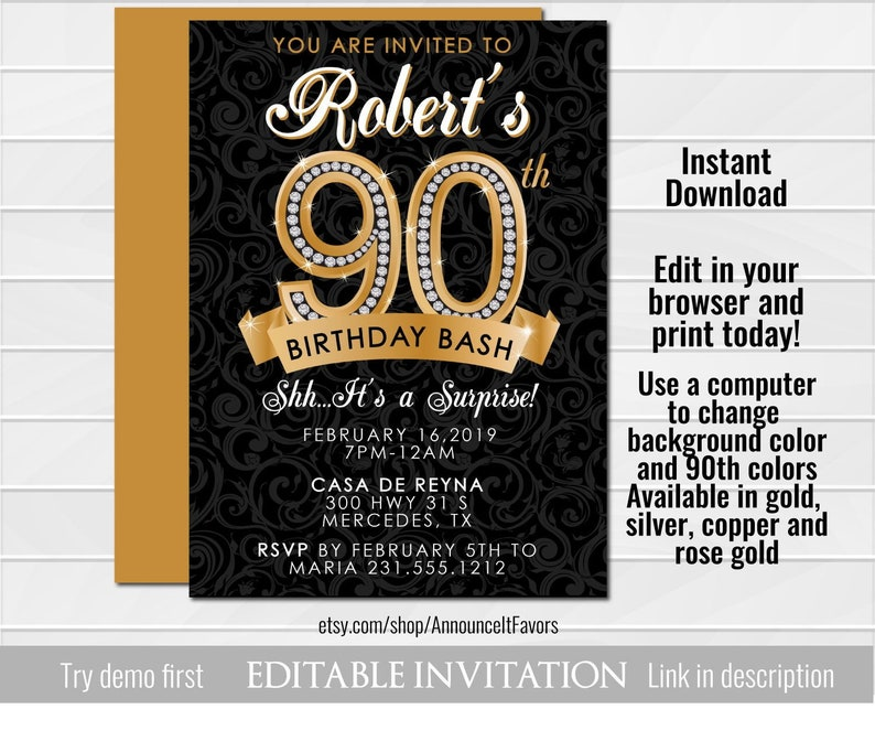 90th Birthday Invitation Diamond Milestone Adult