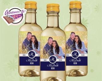 Wedding Mini Wine Labels - Photo Mini Wine Bottle - Set of 10