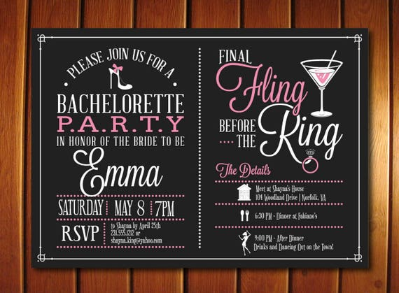 bachelorette itinerary invitation bachelorette invitation