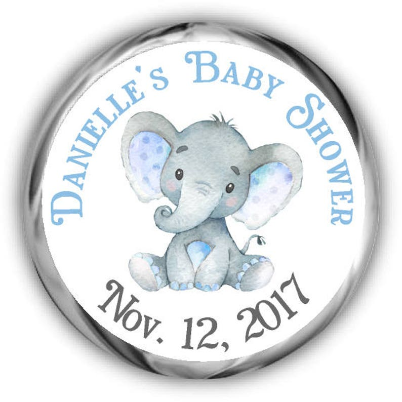 Elephant Baby Shower Hershey Kisses Stickers Personalized Etsy