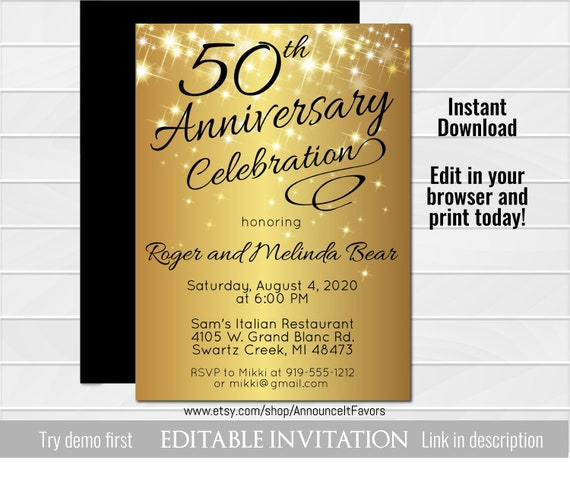 50th Anniversary Invitation Golden Invite Instant Download